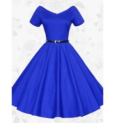 Women V-neck Short Sleeves Vintage 50s 60s Royal Blue Party Swing Dress With Belt