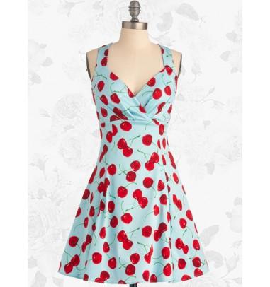 Women's Retro 50s 60s Style Cherry Rockabilly Party Swing Cocktail Dress