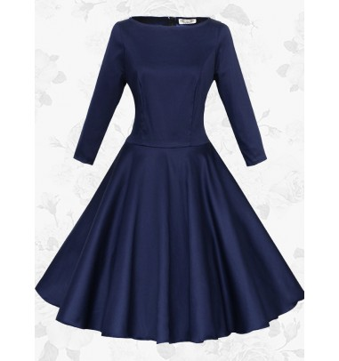 Women Vintage 50s Long Sleeve Round Neck Navy Blue Rockabilly Swing Party Dress