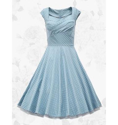 Blue Vintage Square Neck White Polka Dots Waist Slim Women Swing Dress