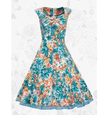 Women Vintage Style 50s Blue Sleeveless Print Short Swing Party Dress