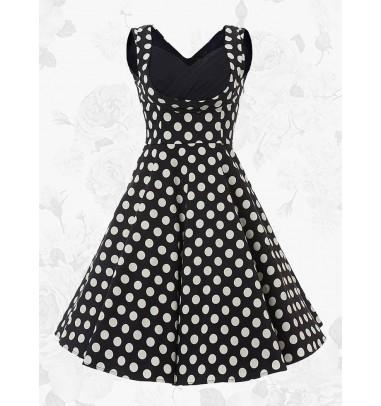 Black Vintage Square Neck A-line 50s White Polka Dots Party Swing Dress