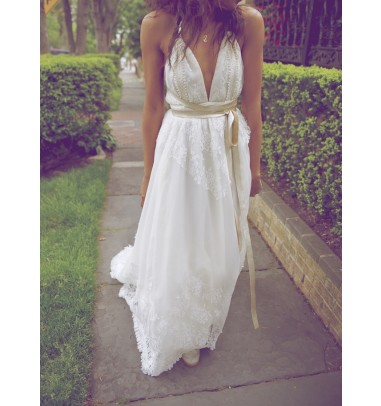 Sexy V-Neck Backless Lace Wedding Dress-Floor Length Wedding Dress with Sash