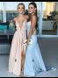 Sheath V-Neck Sweep Trian Backless Light Blue Stretch Satin Prom Dress