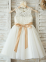 A-Line Round Neck White Flower Girl Dress with Lace Bow
