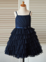 A-Line Spaghetti Straps Navy Tired Blue Flower Girl Dress
