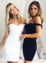 Simple Off-the-shoulder Sheath Short White/Black Homecoming Dress