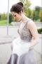 A-Line Deep V-Neck Light Gray Satin Prom Dress with Beading Pockets