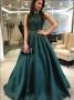 A-Line Sleeveless Bateau Neck Dark Green Satin Long Prom Dress