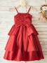 A-Line Spaghetti Straps Red Flower Girl Dress with Flower Bow