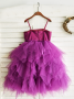 A-Line Spaghetti Straps Grape Flower Girl Dress with Sequins Bow