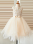 A-Line Crew Neck Light Champagne Flower Girl Dress with Bow