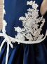A-Line Jewel Navy Blue Satin Flower Girl Dress with Appliques