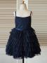 A-Line Spaghetti Straps Navy Tired Blue Flower Girl Dress
