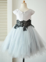 A-Line Jewel Cap Sleeves Grey Flower Girl Dress with Appliques