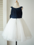 A-Line Bateau White Flower Girl Dress with Navy Blue Bow