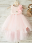 A-Line Jewel Pink High Low Flower Girl Dress with Flowers