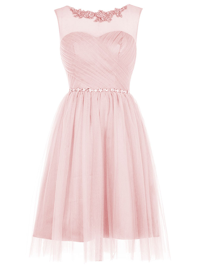 A-Line Bateau Short Pink Tulle Dress with Appliques Sequins фото