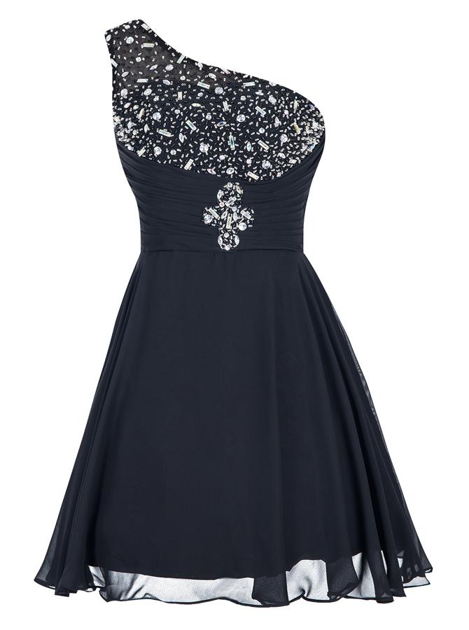 A-Line One-Shoulder Short Black Chiffon Dress with Rhinestone фото
