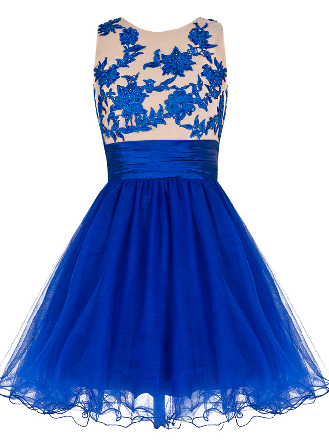 A-Line Round Neck Short Royal Blue Tulle Dress with Appliques фото