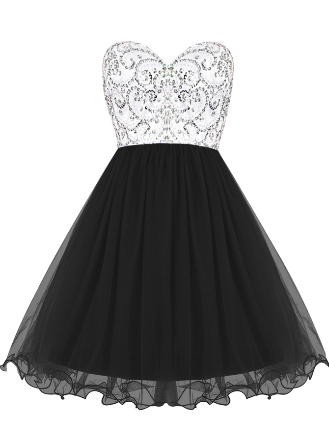 A-Line Sweetheart Short Black Dress with Beading