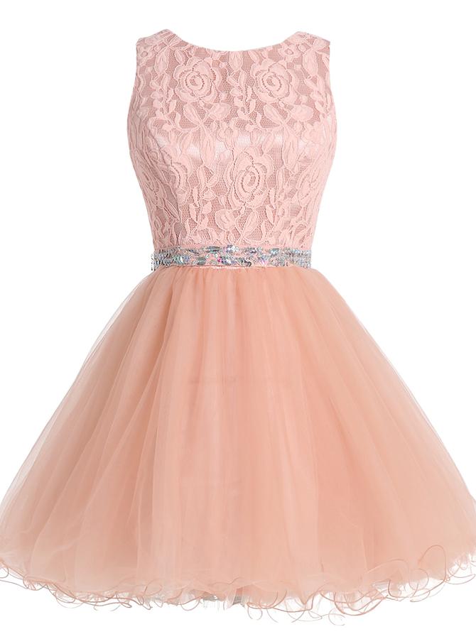 A-Line Bateau Open Back Peach Dress with Lace