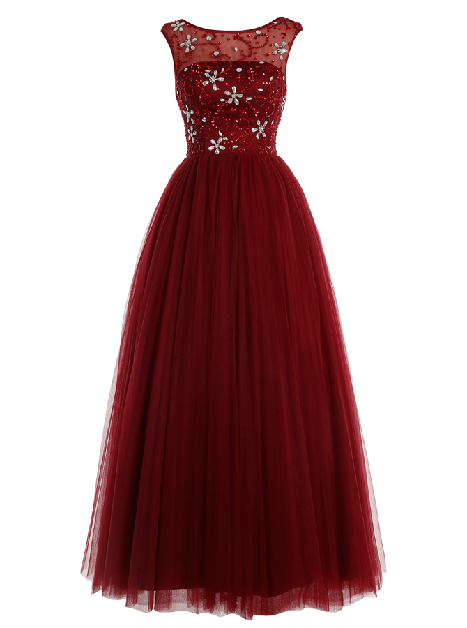 A-Line Bateau Floor-Length Burgundy Tulle Dress with Beading