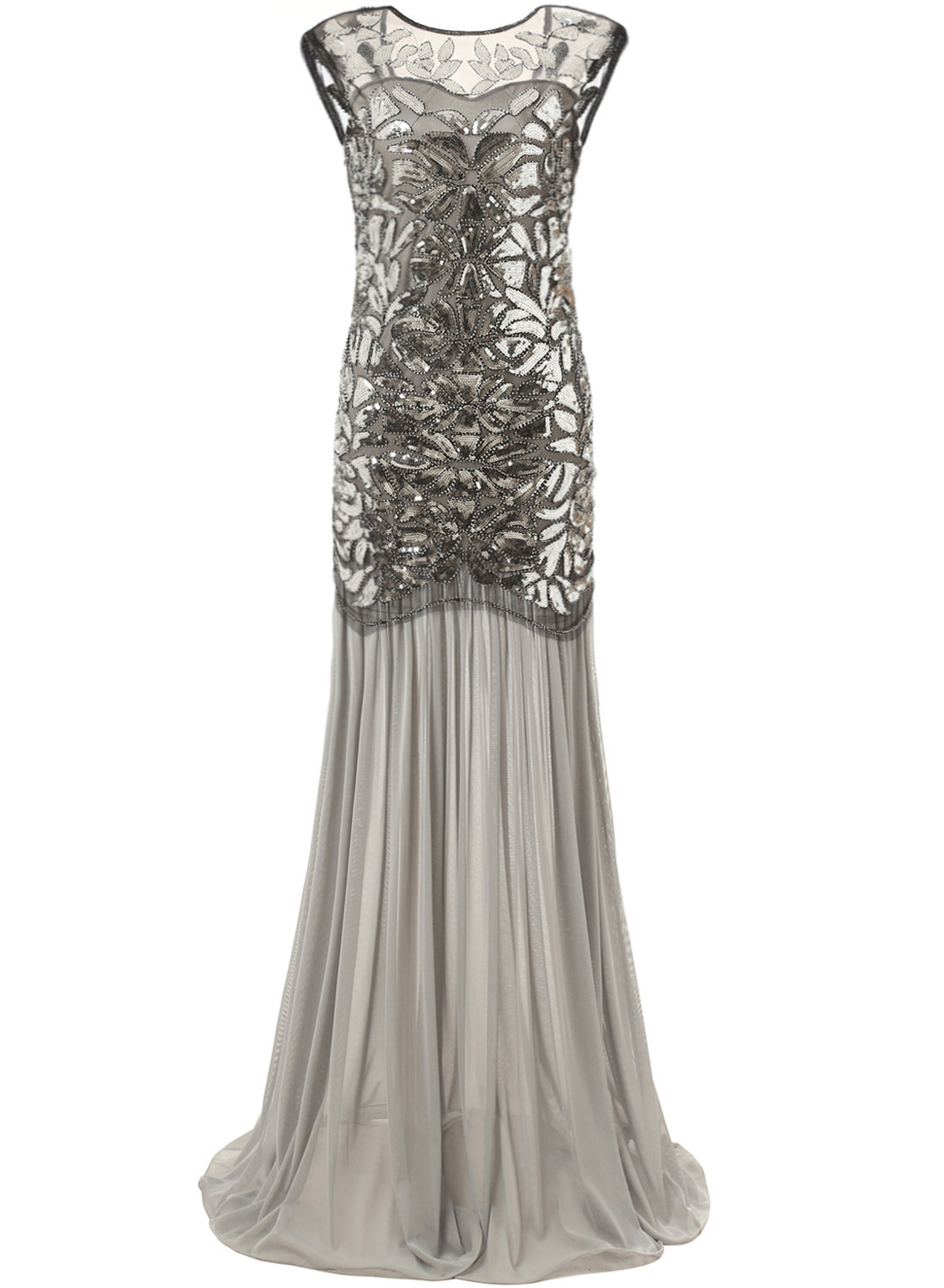Mermaid Vintage 20s Style Gatsby Flapper Gray Long Cocktail Prom Dress, Grey