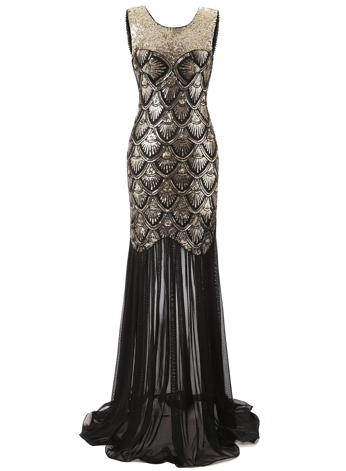 Vintage 20s Style Gatsby Black Long Cocktail Party Evening Mermaid Prom Dress