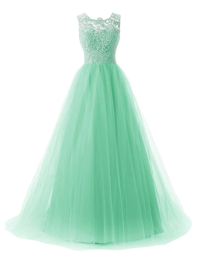 A-Line Bateau Sweep Train Mint Green Tulle Dress with Button Lace фото