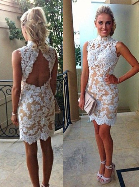 Sexy Column High Neck Sleeveless Mini Lace Appliques Homecoming Party Dress фото