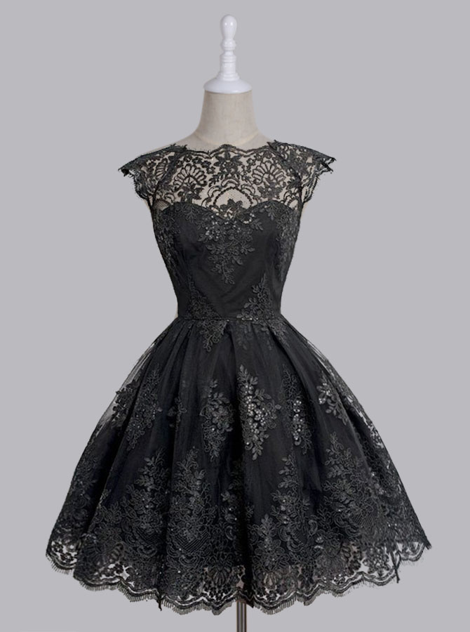 A-Line Scalloped-Edge Cap Sleeves Black Tulle Prom Dress with Appliques фото