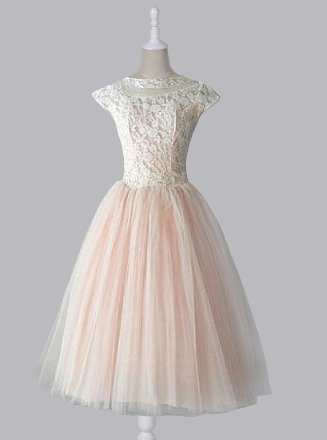 Simple-dress / Simple Dress Vintage Lace Scoop Capped Tulle Homecoming Dress