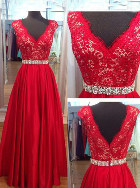 Elegant V-neck Long Red Lace Prom / Evening Dress with Beading Waist фото