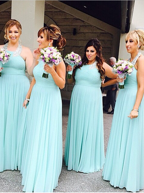 Elegant Halter Ruffles A-line Floor-length Mint Bridesmaid Dresses CHBD-71142
