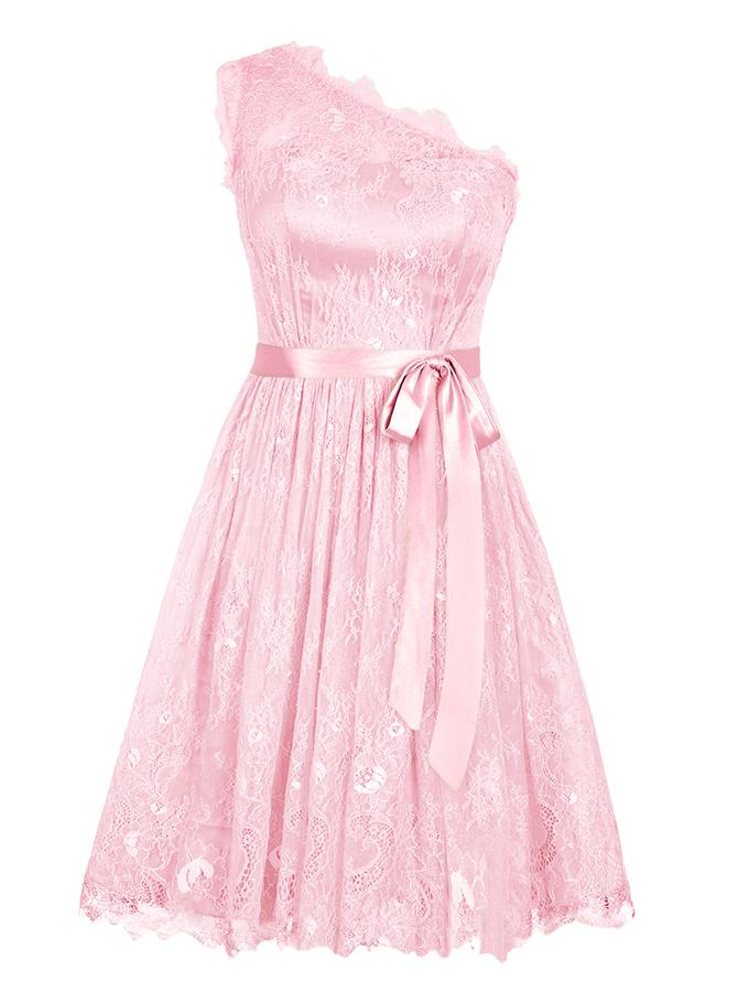 A-Line One-Shoulder Short Pink Lace Dress with Sash