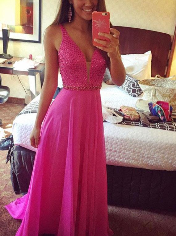 A-Line V-Neck Sleeveless Floor-Length Fuchsia Chiffon Prom Dress with Beading фото