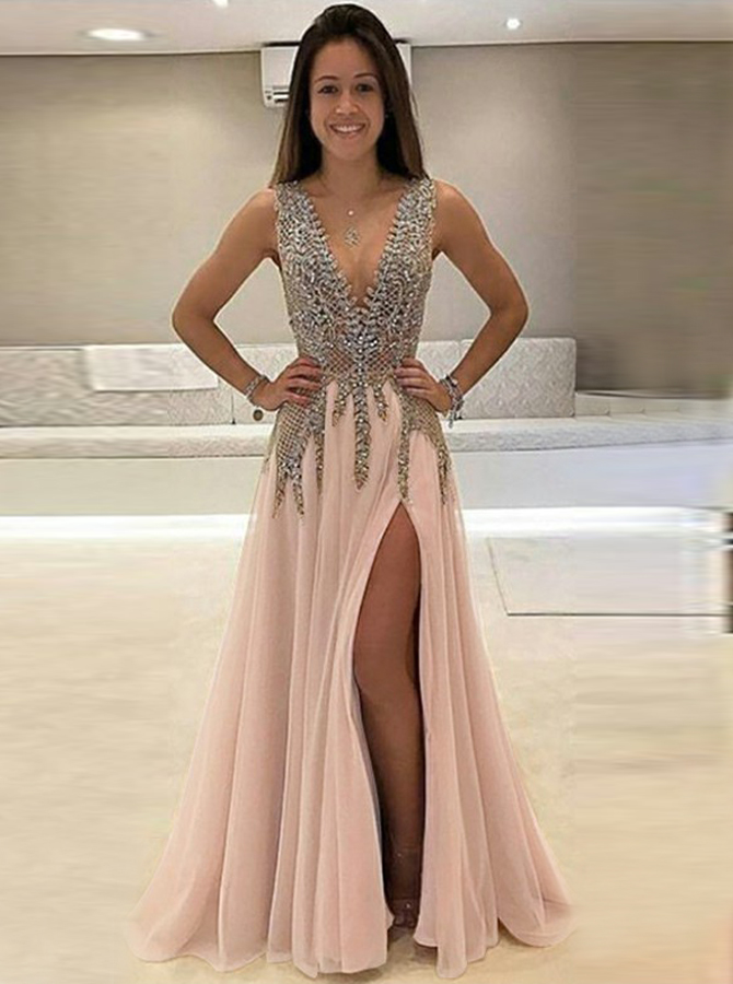 A-Line Deep V-Neck Sweep Train Sleeveless Pink Tulle Prom Dress with Beading