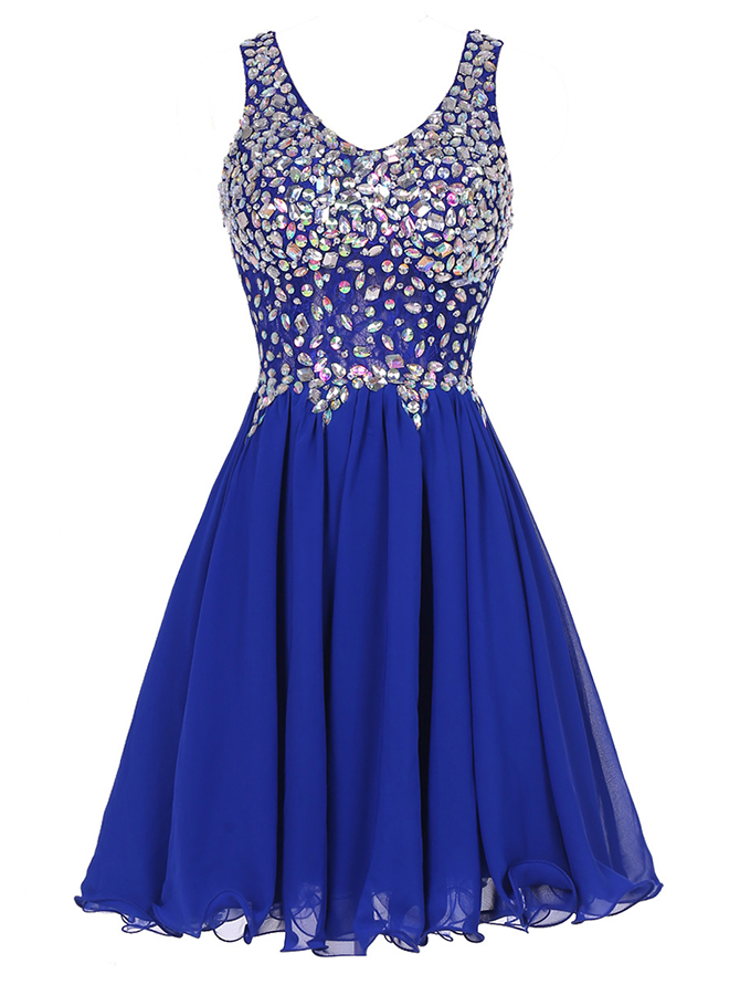 A-Line Scoop Short Royal Blue Chiffon Dress with Rhinestone