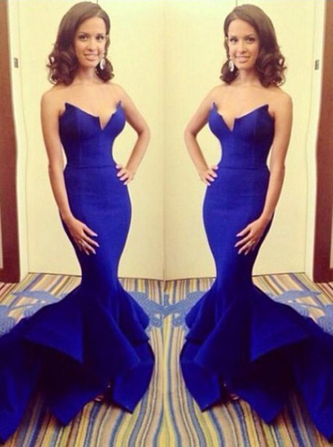Strapless Mermaid Royal Blue Satin Prom Dresses/Evening Dresses/Formal Dress фото