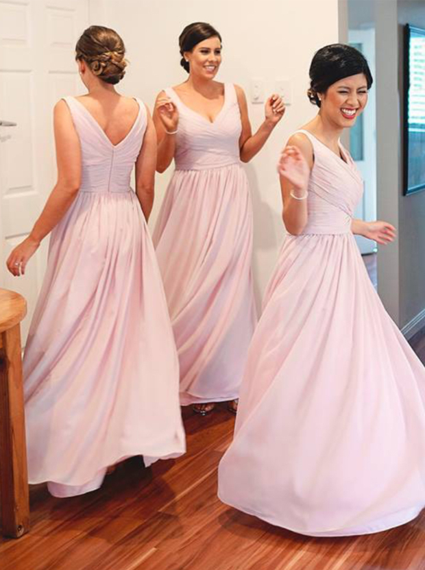 Simple A-Line V-Neck Floor Length Pink Bridesmaid Dress with Ruched фото