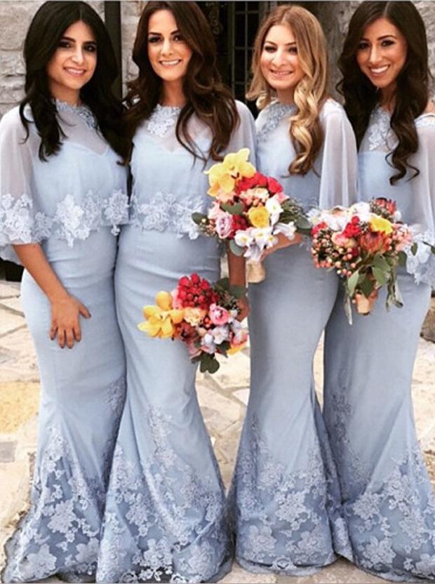 Mermaid Bridesmaid Dress - Light Blue Bateau Floor-length Appliques Simple-dress