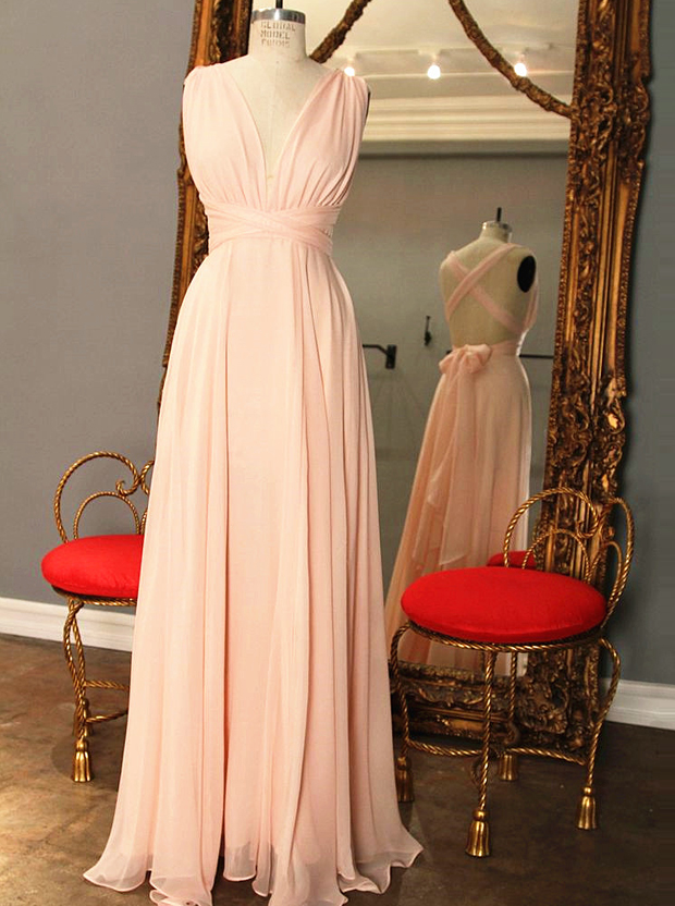 Elegant A-Line V-Neck Floor Length Pink Bridesmaid Dress with Bowknot фото