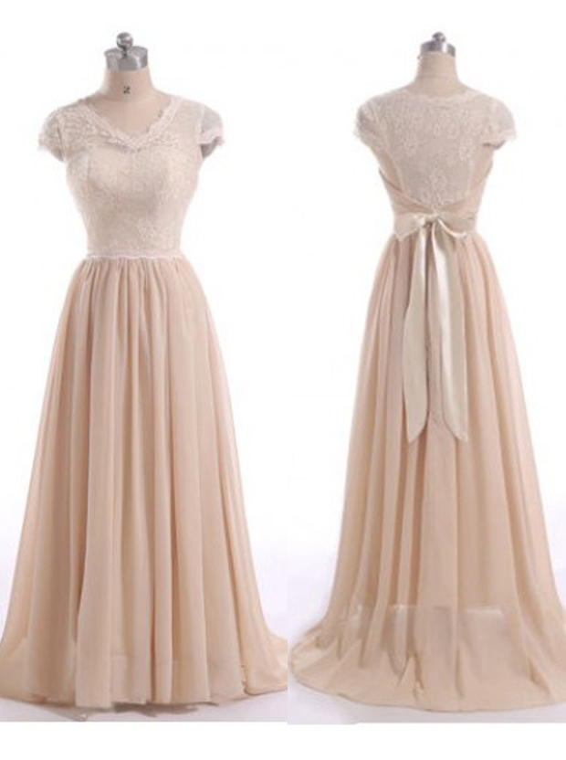 Gorgeous A-Line V-Neck Floor Length Cap Sleeves Pink Bridesmaid Dress with Ruched фото