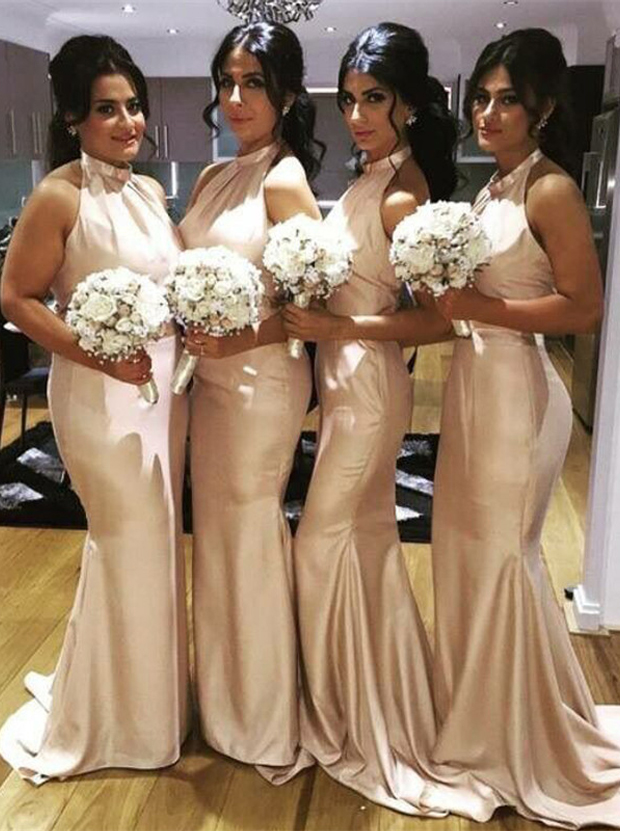 Mermaid Bridesmaid Dress - Champagne Halter Sweep Train