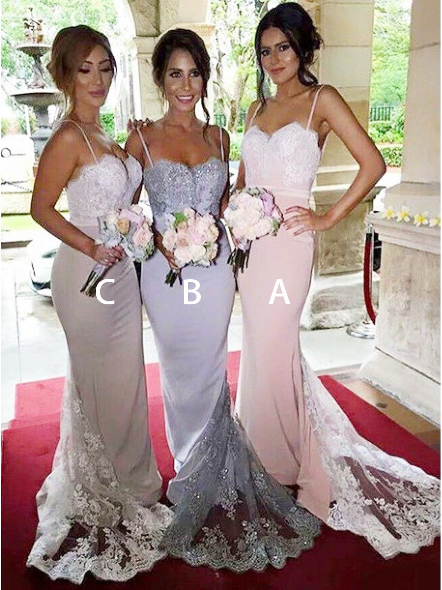 Gorgeous Spaghetti Pink Mermaid Long Bridesmaid Dress with Lace Sequins фото