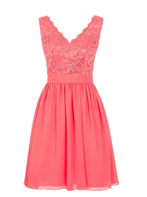 Elegant V-neck Short Chiffon Coral Bridesmaid Dress/Wedding Party Dress фото