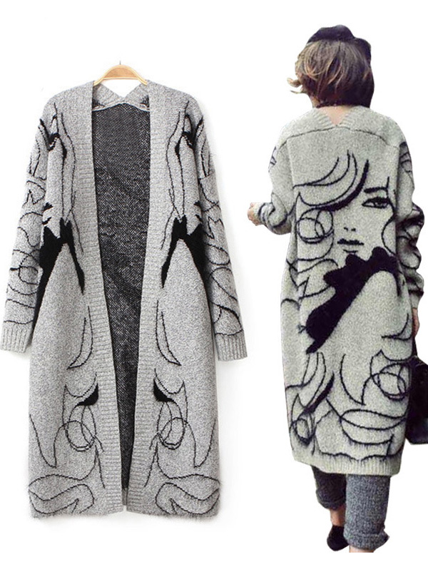 European New During Autumn long Sleeve Knitted Sweater, Grey