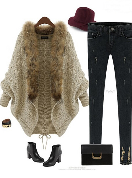 Loose long Sleeves knitted Bat Sweater Coat With Fur фото