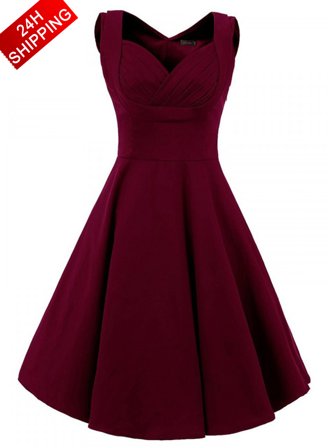 Women Vintage Style Square Neck Knee Length Burgundy Swing Party Dress фото